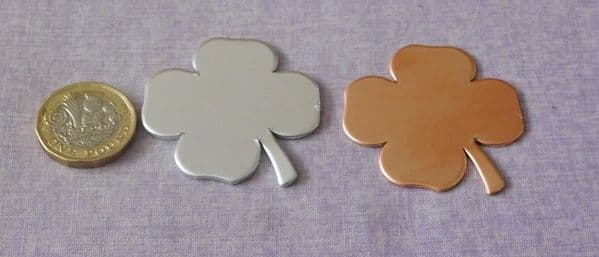 Clover metal stamping/engraving blank - die cut - aluminium, brass or copper