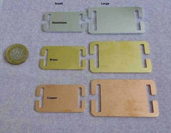 Collar pet tags metal stamping/engraving blanks - 2 sizes - aluminium, brass and copper