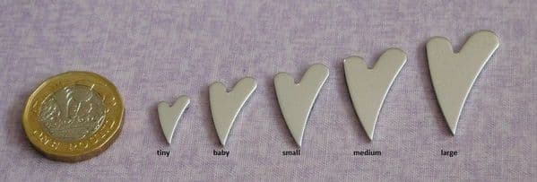 Heart/wonky heart metal stamping blank  - die cut - 5 sizes, aluminium, brass, copper and silver