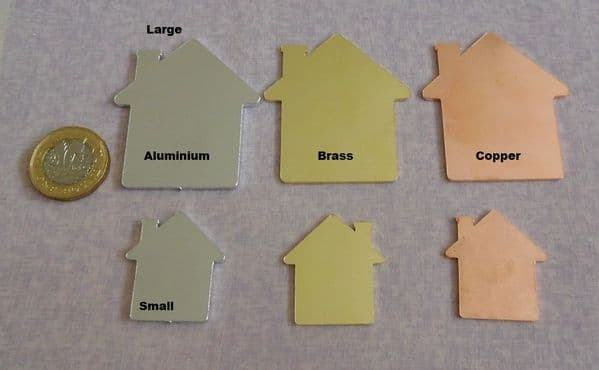 Home/house with chimney metal stamping blank -  laser cut  - aluminium,copper or brass