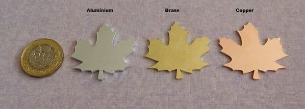 Maple leaf metal stamping/engraving blank - 2mm aluminium, 1.2mm brass and copper - laser cut