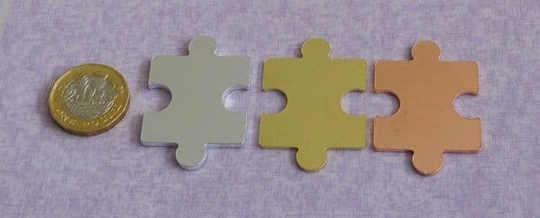 Puzzle piece stamping blank  - laser cut and interlocking - aluminium, brass and  copper