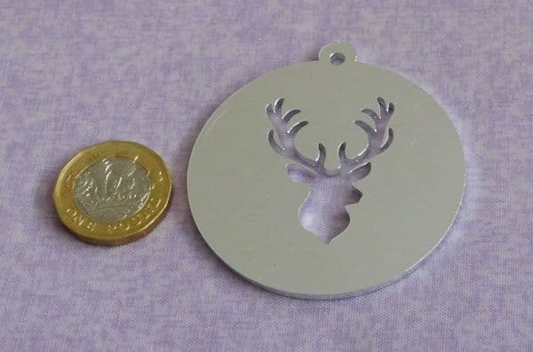 Stag head bauble  disc metal stamping blank - 2mm - laser cut