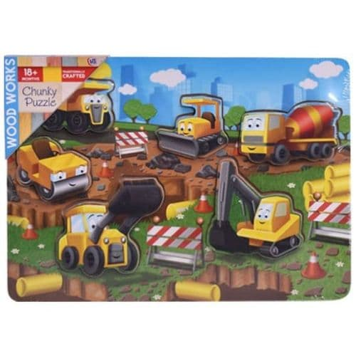 Wood Works Chunky Construction Vehicles  6 Piece Puzzle
