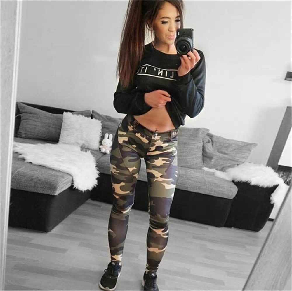 NEW Womens Sport Camouflage Workout Gym Yoga Leggings Fitness