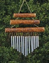 Bamboo 3 Piece Chime - Burnt Motif