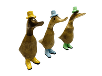 Bamboo Ducks with Painted Hats and Boots