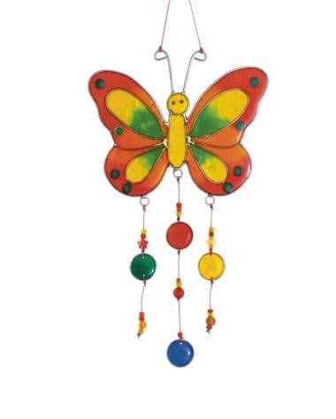 Butterfly with Beads & Nuggets Suncatcher - Assorted Colours