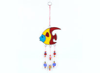 Fish Suncatcher with Beads - Turquoise / Yellow