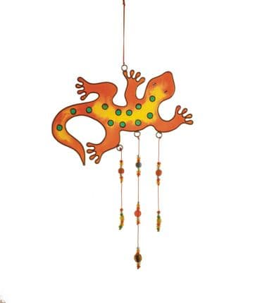 Gecko Suncatcher with Beads - Red
