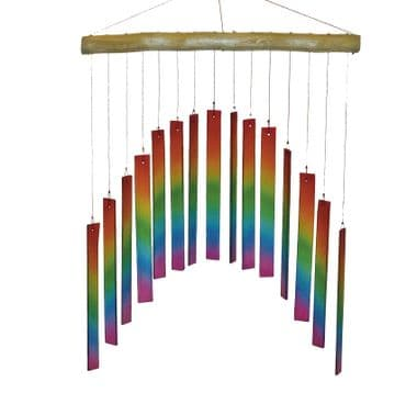 Glass Windchime Curved Rectangle - Rainbow