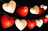 Heart Lantern Fairy Lights - White / Red