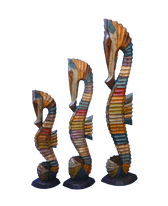 Painted Wooden Seahorses 'Stripe' Set of 3 - Large