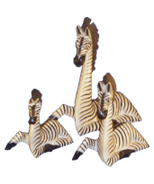 Painted Wooden Zebra Lying B/W - Various Sizes
