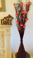 Red Rose with Brown Vase