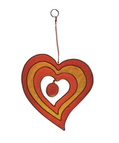 Red/Yellow/Orange Single Heart Suncatcher