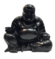 Resin Happy Buddha Black - Various Sizes