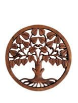 Wooden Tree of Life with Leaves Plaque