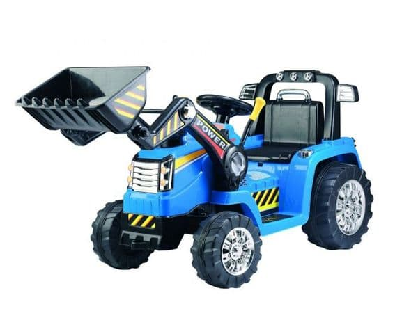 12V Battery Operated Children's Ride-on Tractor with Moveable Front Bucket - BLUE