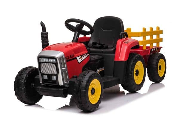JD Style TRACTOR & TRAILER - 12V KIDS' ELECTRIC RIDE ON - RED
