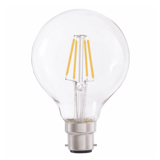 4W B22 LED Filament Vintage Dimmable G80 Globe Lamp - Clear - 2200K Extra Warm White