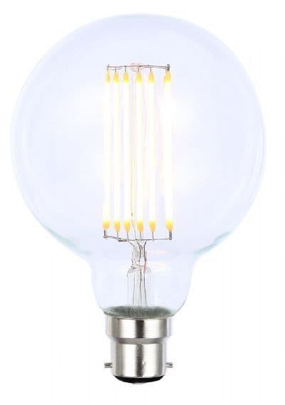 6W B22 LED Filament Large Vintage Dimmable G95 Globe Lamp - Clear - 2200K Extra Warm White