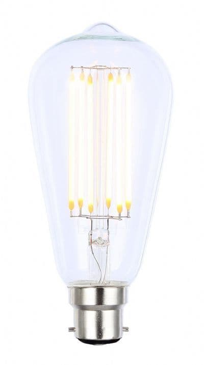 6W B22 LED Filament Vintage Dimmable Squirrel Cage Lamp - Clear - 2200K Extra Warm White