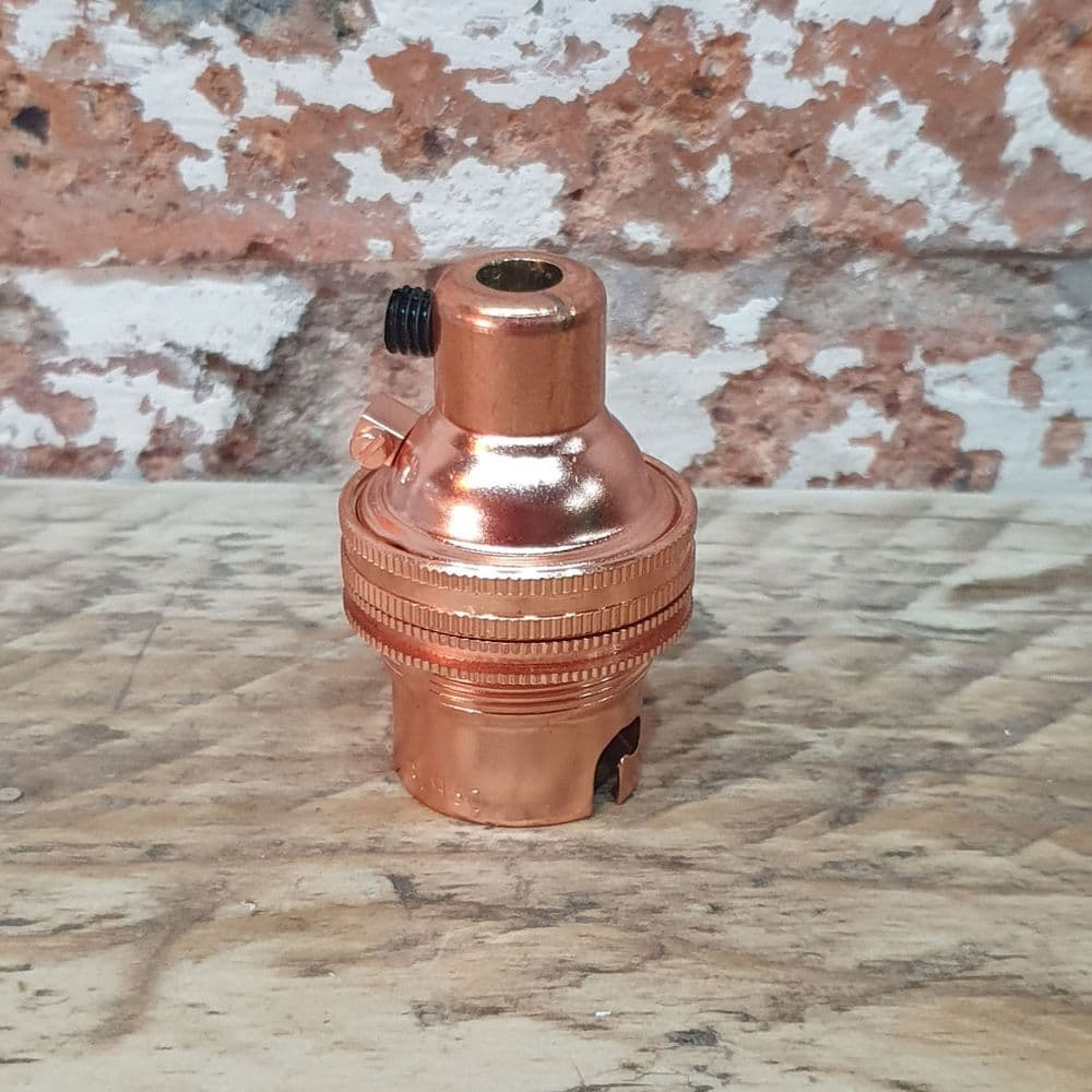 BC Bayonet Pendant Shade Ring Bulb Holders In Copper