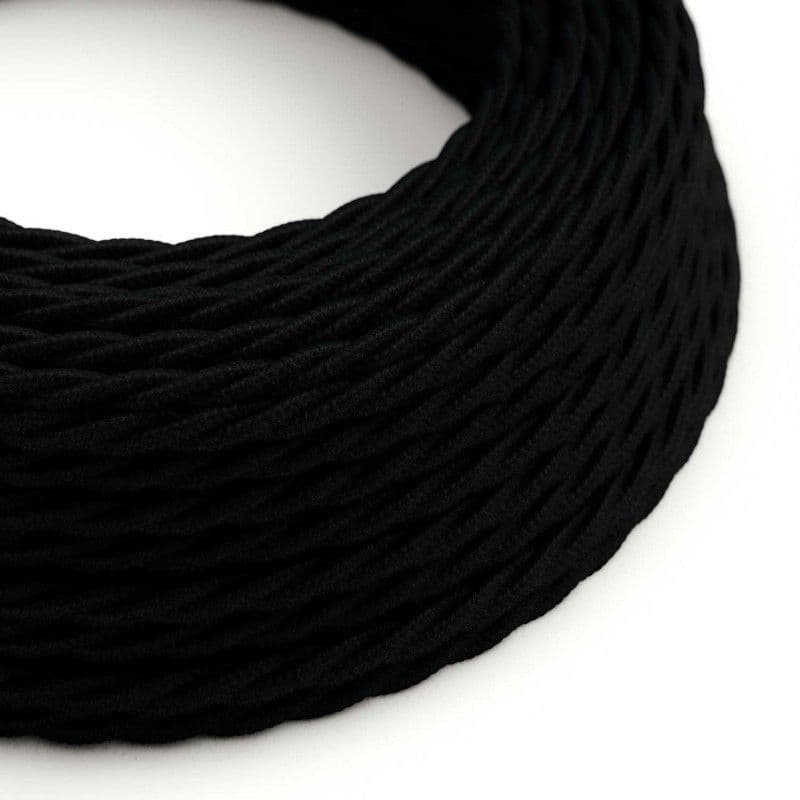 Black Cotton Twisted 3 Core Electrical Cable