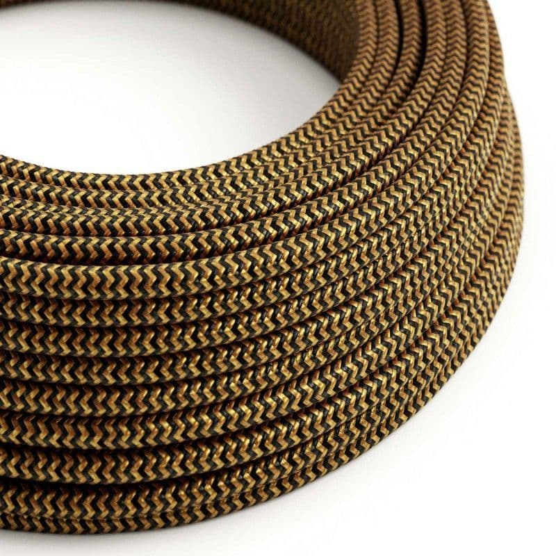 Gold and Black 3 Core Electrical Cable