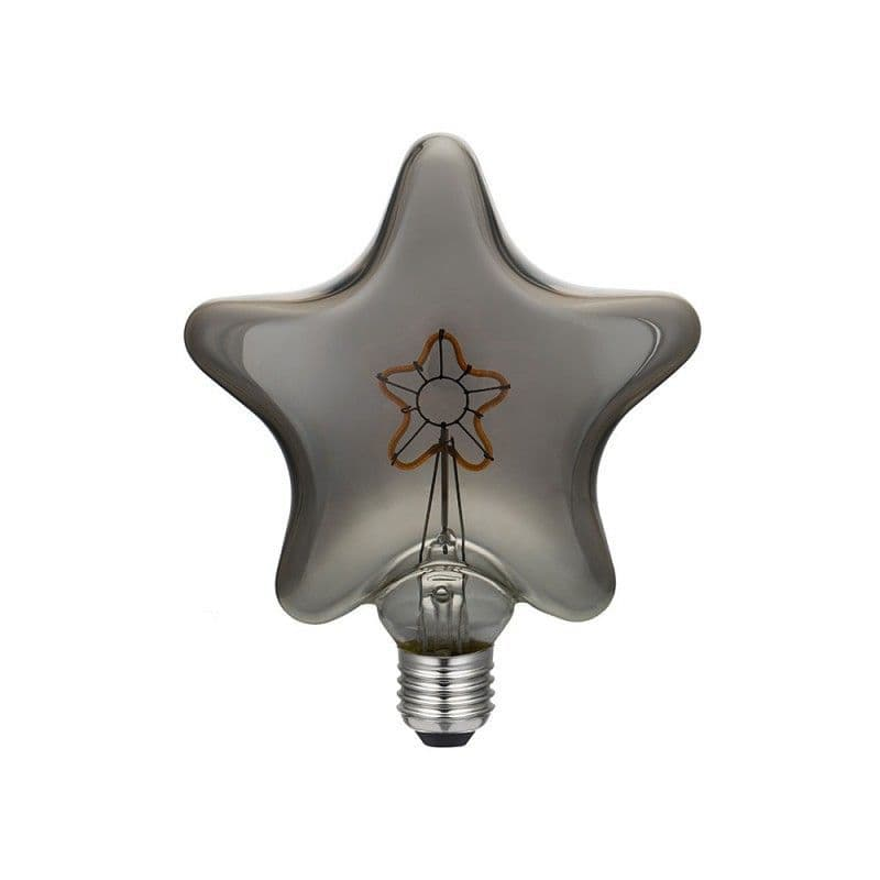 LED Star Smoky Grey light bulb with star filament 3W E27 2000K dimmable
