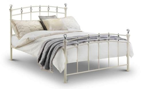 Chatelet bed - stone white finish with crystal finials