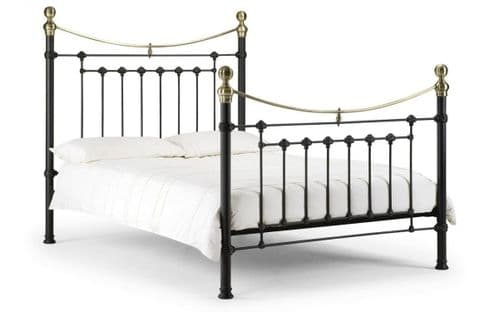 Murcia bed - satin black finish with brass finials  90cm