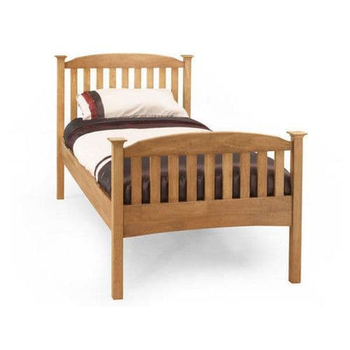 Serene Single Eleanor High Foot End Bed Frame in Honey Oak or Opal White
