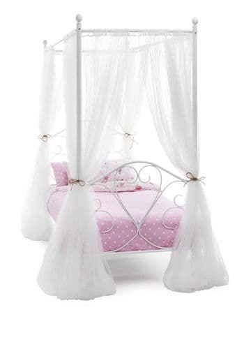Serene Single Isabelle Four Poster Bed Frame in White Gloss