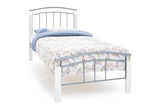 Serene Single Tetras White Bed Frame in Silver or Black Metal
