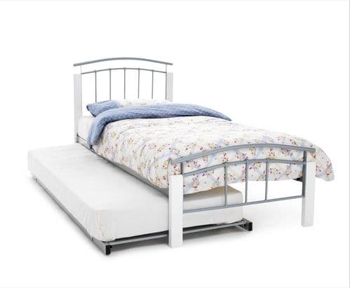 Serene Tetras White Guest Bed in Silver or Black Metal Finish