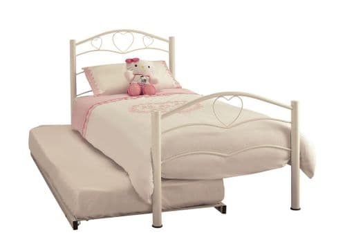 Serene Yasmin Metal Guest Bed in White or Pink Gloss