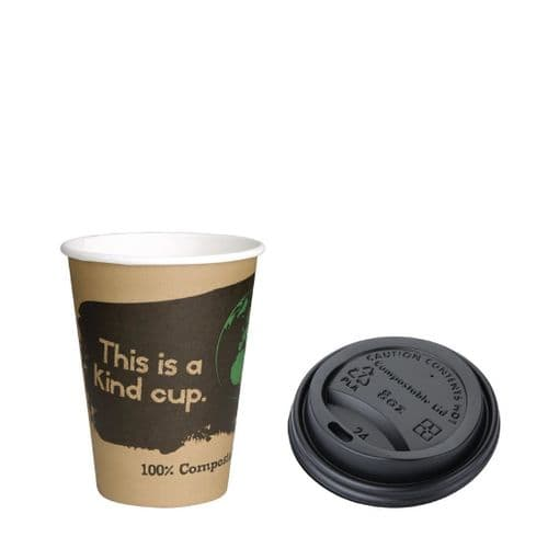 Fiesta Green 8oz Compostable Hot Cups and Lids Bundle (Pack of 1000)