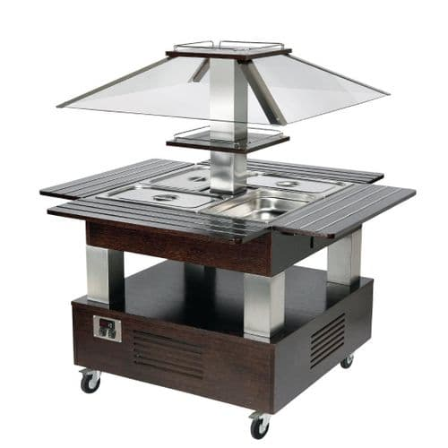 Roller Grill Chilled Salad Bar Square Dark Wood GP304