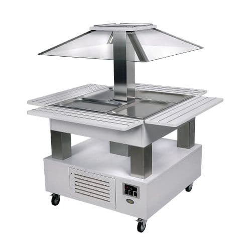 Roller Grill Heated Salad Bar Square White Wood GP309