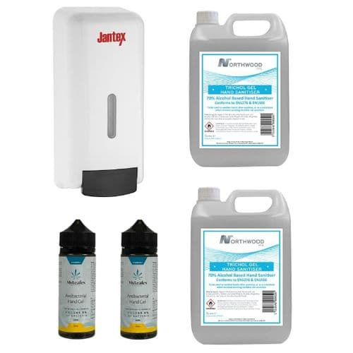 Special Offer 4 x Hand Sanitisers and Jantex Soap and Hand Sanitiser Dispenser - SA549
