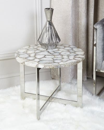 Adora White Marble Stainless Steel End Table