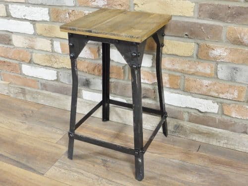 Angle Rustic Wooden Top Stool Black