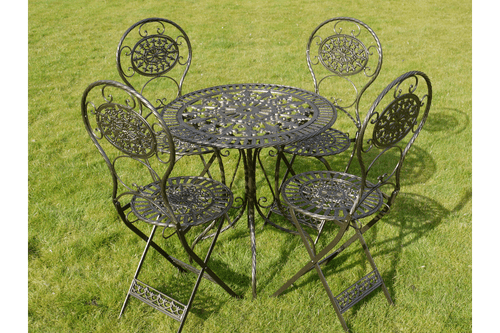 Antique Black & Gold Metal Patio Set - Table & 4 Chairs