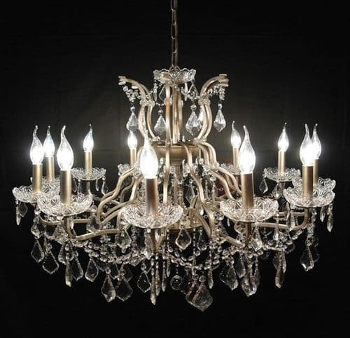 Antique Silver 12 Branch Shallow Cut Glass Chandelier