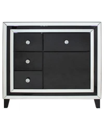 Black Modena Mirrored 4 Drawer And 1 Door Cabinet