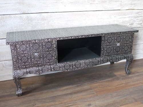 Blackened Silver Embossed Patterned Long Metal TV Cabinet