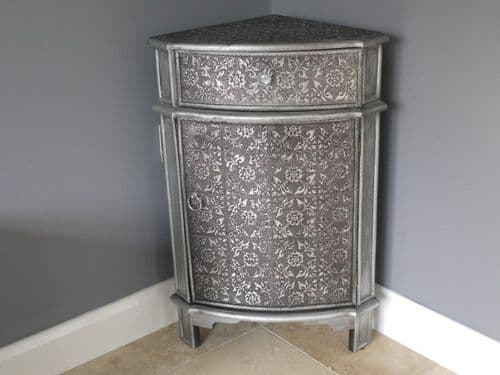 Blackened Silver Embossed Patterned Metal Corner Cabinet