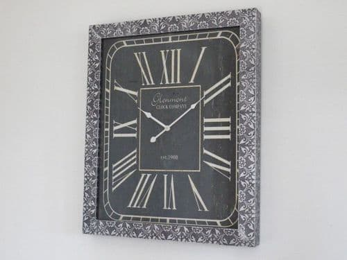 Blackened Silver Embossed Patterned Metal Embossed Clock - Rectangular
